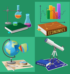 equipment for subjects studies set vector image