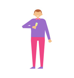 Faceless man with glass of champagne alcohol drink vector