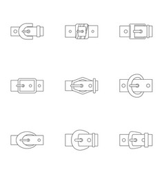 Fashion belt buckle icon set outline style vector
