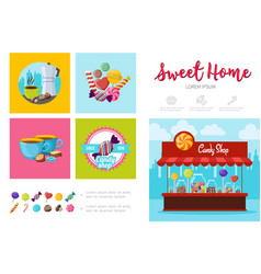 Flat sweet products infographic template vector