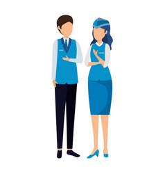 Flight attendants couple avatars characters vector