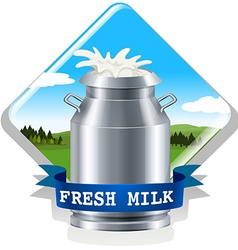 Fresh milk with text vector image