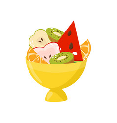 fresh ripe fruits in yellow vase healthy vector image