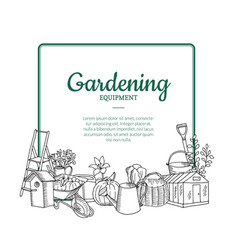 gardening doodle icons below frame with vector image