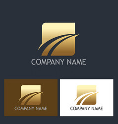 gold square loop abstract company logo vector image