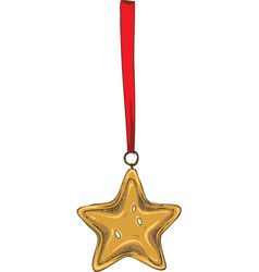 golden christmas star with red ribbon vector image