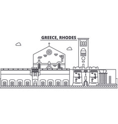 Greece rhodes line skyline vector