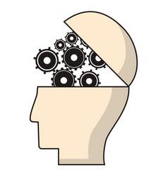 Head human gear wheel engineer vector