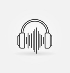 Headphones with sound wave outline icon vector