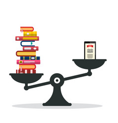 heavy books vs e-book reader on scales vector image