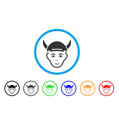 horned boy head rounded icon vector image