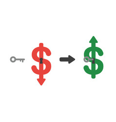icon concept of dollar arrow moving down with vector image