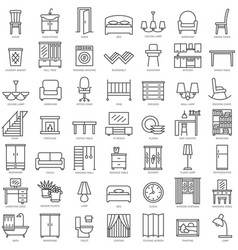 indoor furniture linear icons set vector image