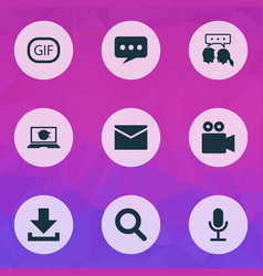 Internet icons set collection gif sticker vector