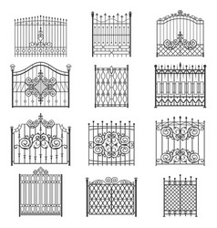 Iron gate line art set vector
