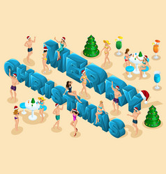 isometric celebration men and women in swimsuits vector image