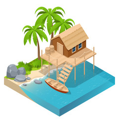 isometric wooden house sea near palm trees vector image