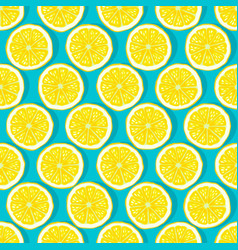 lemon slices blue background seamless pattern vector image