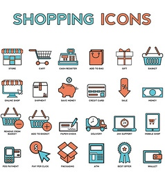Line icons with flat design elements of market vector image