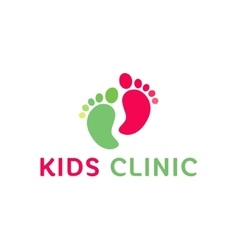 Logo children health clinic child feet flat vector