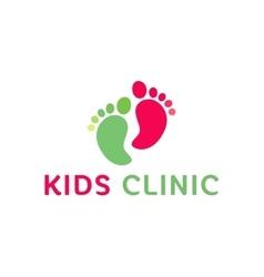 Logo children health clinic the child feet flat vector