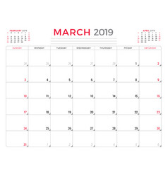 March 2019 calendar planner stationery design vector