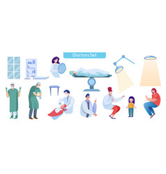 medical services flat set vector image