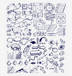 Mega collection of hand drawn arrow charts vector
