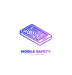 mobile safety logo vector image