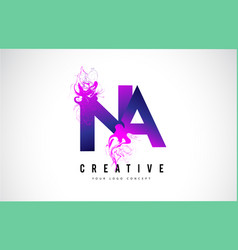 Na n a purple letter logo design with liquid vector