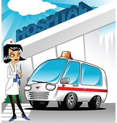 Nurse outside hospital vector image