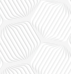 Paper white rounded striped hexagons vector image