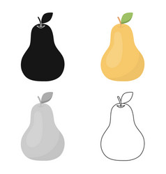 Pear icon cartoon singe fruit icon vector
