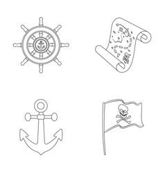 Pirate bandit rudder flag pirates set vector