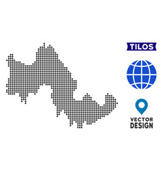 Pixelated tilos greek island map vector