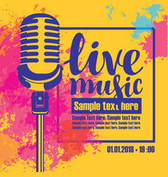poster for a live music concert with a microphone vector image