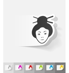 Realistic design element japanese woman vector