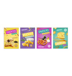 Realistic snacks poster set vector