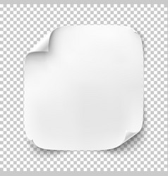 realistic white square sheet of paper or banner vector image