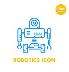 Robotics line icon robot mechanical engineering vector