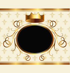 Royalty style event invitation with golden crown vector
