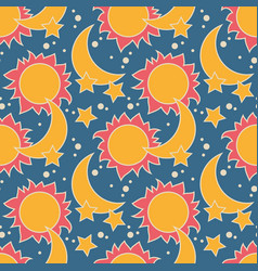 Seamless pattern with moon sun and stars vector