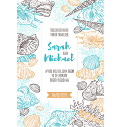 seashells and corals frame on wedding invitation vector image