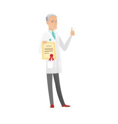 Senior caucasian doctor holding a certificate vector