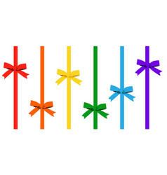 set colored bow with vertical ribbon bow vector image