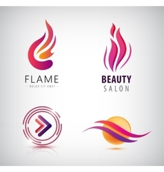 Set of abstract wavy logos arrow flame vector