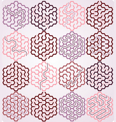 set of hexagonal maze vector image