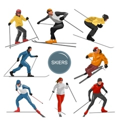 Set of skiers People skiing design vector