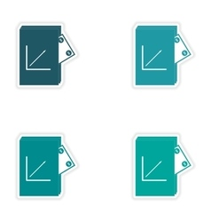 Set of stylish sticker on paper Financial Report vector