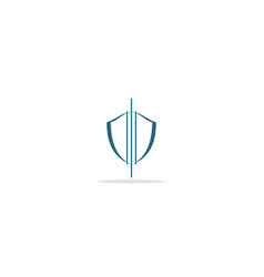 Shield outline protect logo vector
